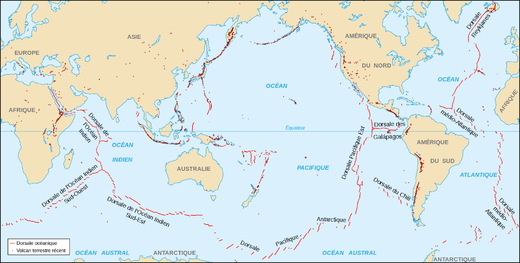 Carte de répartition du volcanisme sur Terre dont sous-marin (traits rouges).