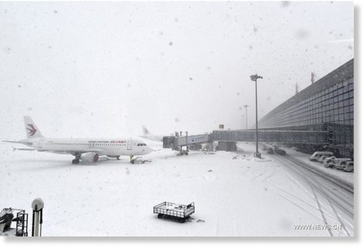 Photo taken on Jan. 27, 2018 shows the snow-covered Nanjing Lukou International Airport in Nanjing, east China's Jiangsu Province.