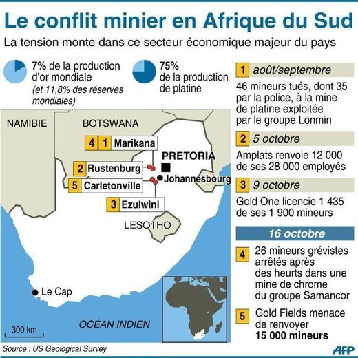 AFP Map localizing the social movements and the violence in mines