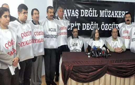 Members of parliament of the pro-Kurdish party BDP, united of the hunger strikers