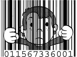 Drawing kid behind a bar code