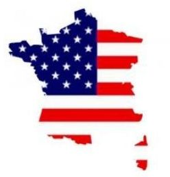 France map with US flag