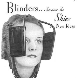 Blinders because she shies new ideas illustration