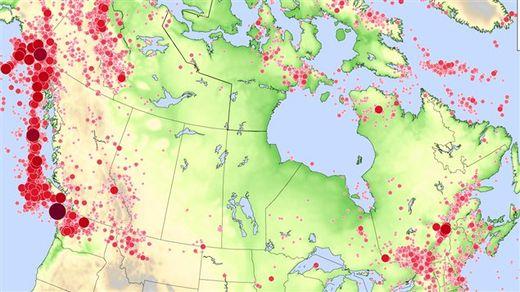 Canada Map seisms