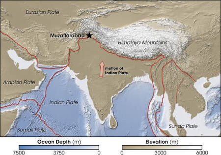 map Himalaya Plaque tectonique indienne