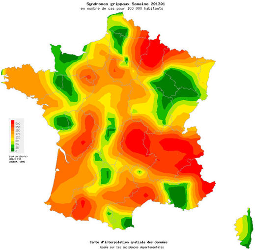 Carte des grippes en France 10.01.2013