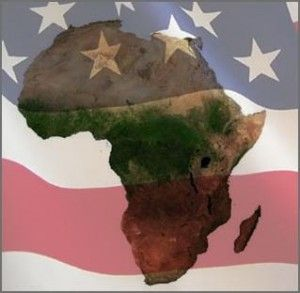 USA flag on Africa map