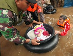 Jakarta floods, rescue and people