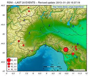 Seism map Italia