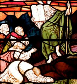 Moïse portant un voile, vitraux