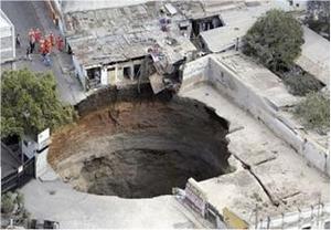 Sinkhole à Guatemala city, 2007