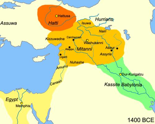 Le Moyen-Orient en 1,400 av. J.-C.