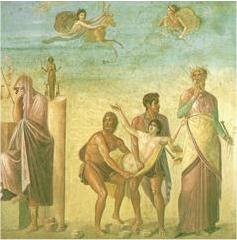 Sacrifice d'Iphigenia à Aulis (peinture romaine). Noter les éléments célestes.