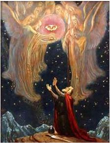 Titurel reçoit le Graal et l'épée, peinture de Franz Stassen