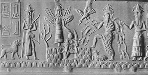 Cylindre akkadien, 2,250 av. J.-C., Ninurta, Ishtar, Shamas, et Ea. Noter Ninurta avec sa flèche.