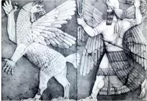 Ninurta chassant un monstre. Noter la foudre dans sa main et la faucille qui pend sous son bras gauche.