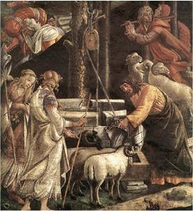Moïse au puits, par Boticelli