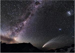 Comète et voie lactée