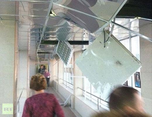 Dégats à l'intérieur des bâtiments de la ville de Tcheliabinsk