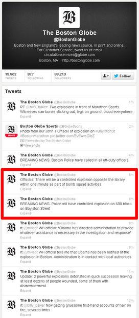 Extrait compte Twitter du Boston Globe_attentat du marathon de Boston