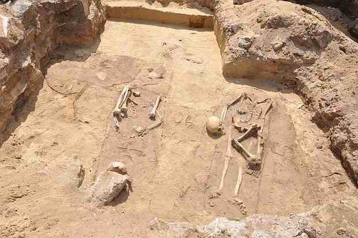 Squelettes sur le site de Gliwice. Photo: matériaux de presse du conservateur régional des monuments.