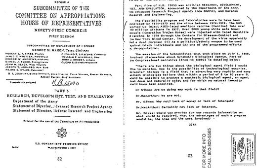 Document officiel des archives de la Librairie du Sénat des États-Unis. Le document atteste que le virus du sida a été artificiellement créé par le Département de la Défense des États-Unis d'Amérique