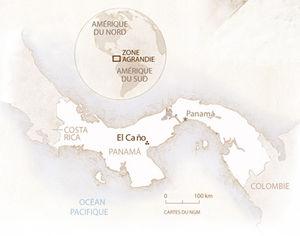 Carte de localisation du site archéologique d'El Cano au Panama