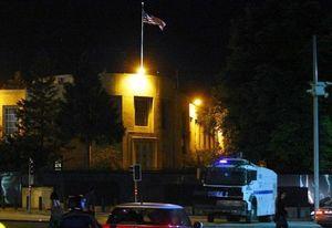 Un camion équipé d'un canon à eau à proximité de l'ambassade des Etats-Unis à Ankara, le 22 juin 2013  afp.com/Adem Altan