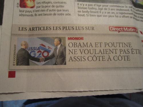 Extrait journal Obama et Poutine G20