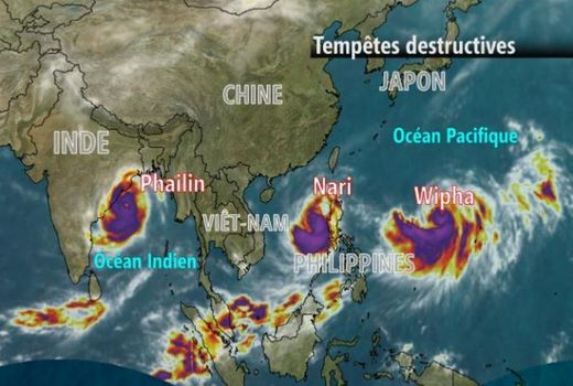 Image satellite des trois tempêtes en extrême-orient, 13.10.2013