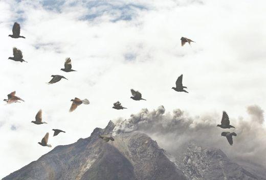 Le Mont Sinabung le 15 septembre après une éruption qui a forcé 1000 personnes à quitter les pentes de la montagne.