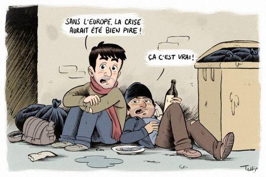 Europe et Crise - Caricature de Teddijo