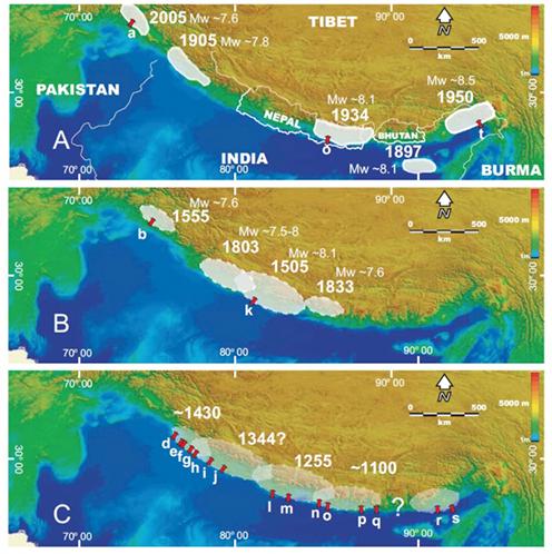 Les grands séismes du dernier millénaire en Himalaya pourraient bien se reproduire Zones_sismiques_Himalaya