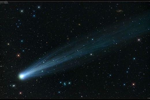 La comète ISON le 15 novembre 2013. Le champ de vision est de 2,5°, cinq fois la largeur de la pleine lune.