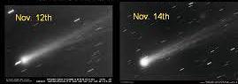 Le 12 novembre par opposition au 14 novembre – Les photographies de la comète ISON montrent un soudain accroissement de brillance.