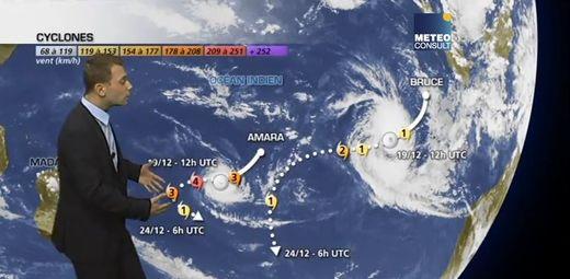 Le cyclone Amara et la tempête tropicale Bruce dans l'océan Indien
