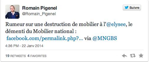 tweet-elysee rumeur mobilier détruit Elysée