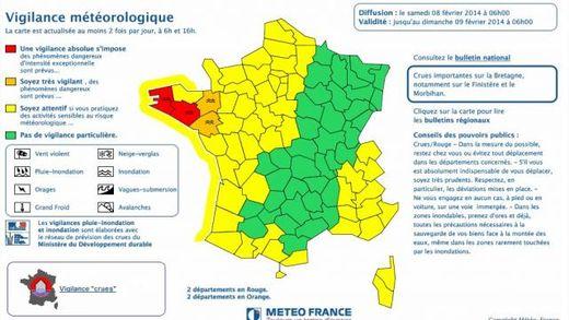 Le bulletin de Météo France, samedi 8 février à 6 heures.