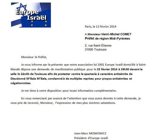 Capture Europe Israel lettre contre Dieudonné
