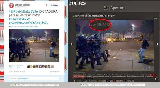 Sur la photo suivante nous pouvons voir comment une manifestation à Sao Paulo devient une manifestation à Caracas