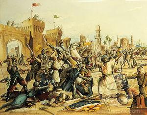 Une belle pièce de propagande dépeignant des croisés massacrant des hérétiques pendant la bataille de Mansourah (7e croisade), alors que c'est exactement l'inverse qui s'est produit.