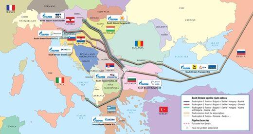 Carte transit du gaz Sud Europe