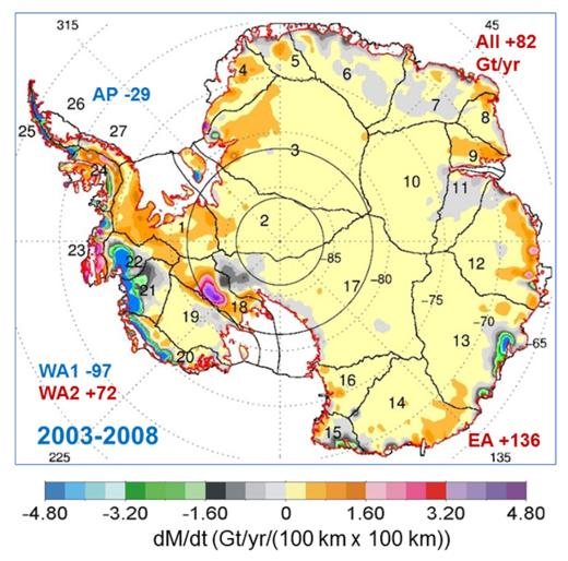 Carte montrant la dynamique des volumes de glace en Antarctique