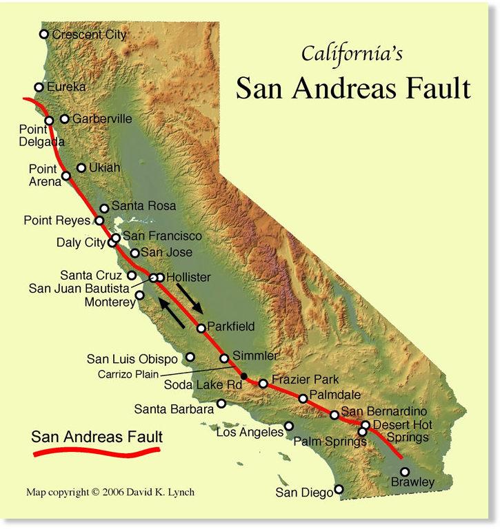 faille san andreas carte La faille de San Andreas et le prochain « Big One »    Changements