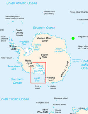 Location of the Ross sea. The green dot indicates the antipode of Hudson Bay.