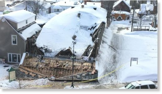 A snow-heavy building used for storage collapsed in Edmundston early Friday morning.