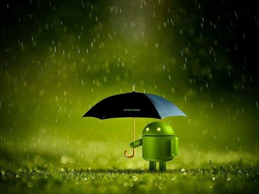 Android, umbrella, rain