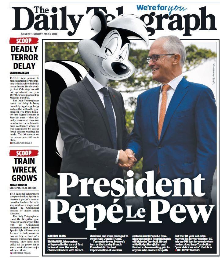 ça continue la censure Australie_telegraph_macron