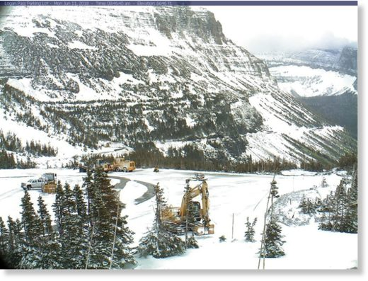 The parking lot at Logan Pass at Glacier National Park in Montana.