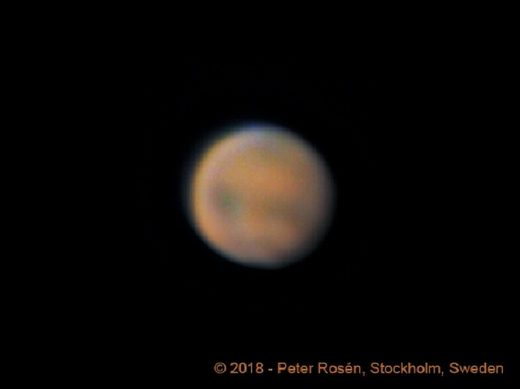 Green blue flash on Mars